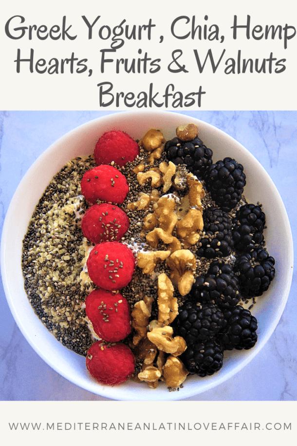Greek Yogurt, Chia, Hemp Seeds, Fruits & Walnuts Breakfast