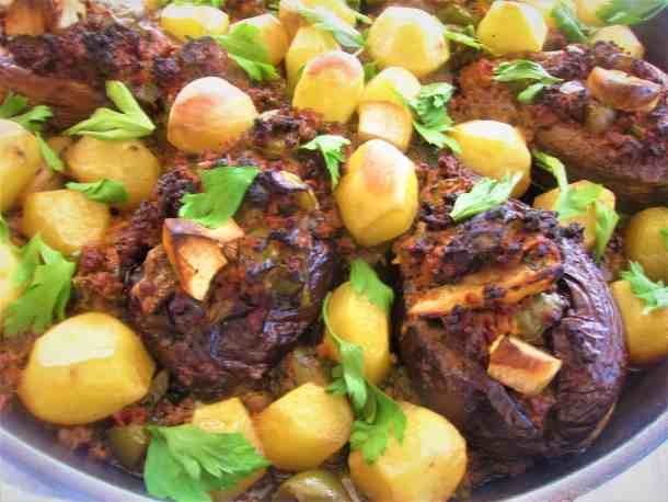 Imam Bayildi (Imam Bajalldi) Or Stuffed Eggplant with Roasted Potatoes