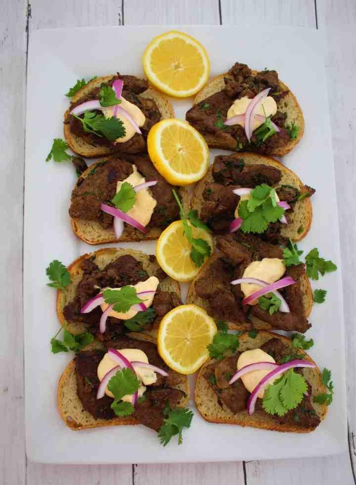 Latin Inspired Recipe - Cilantro Liver Bites in Aji Amarillo Sauce