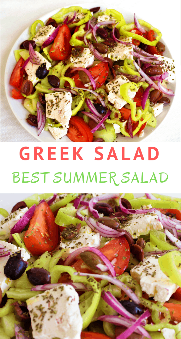 Best Greek Summer Salad made with chunks of tomatoes, cucumbers, feta cheese, olives and red onions.