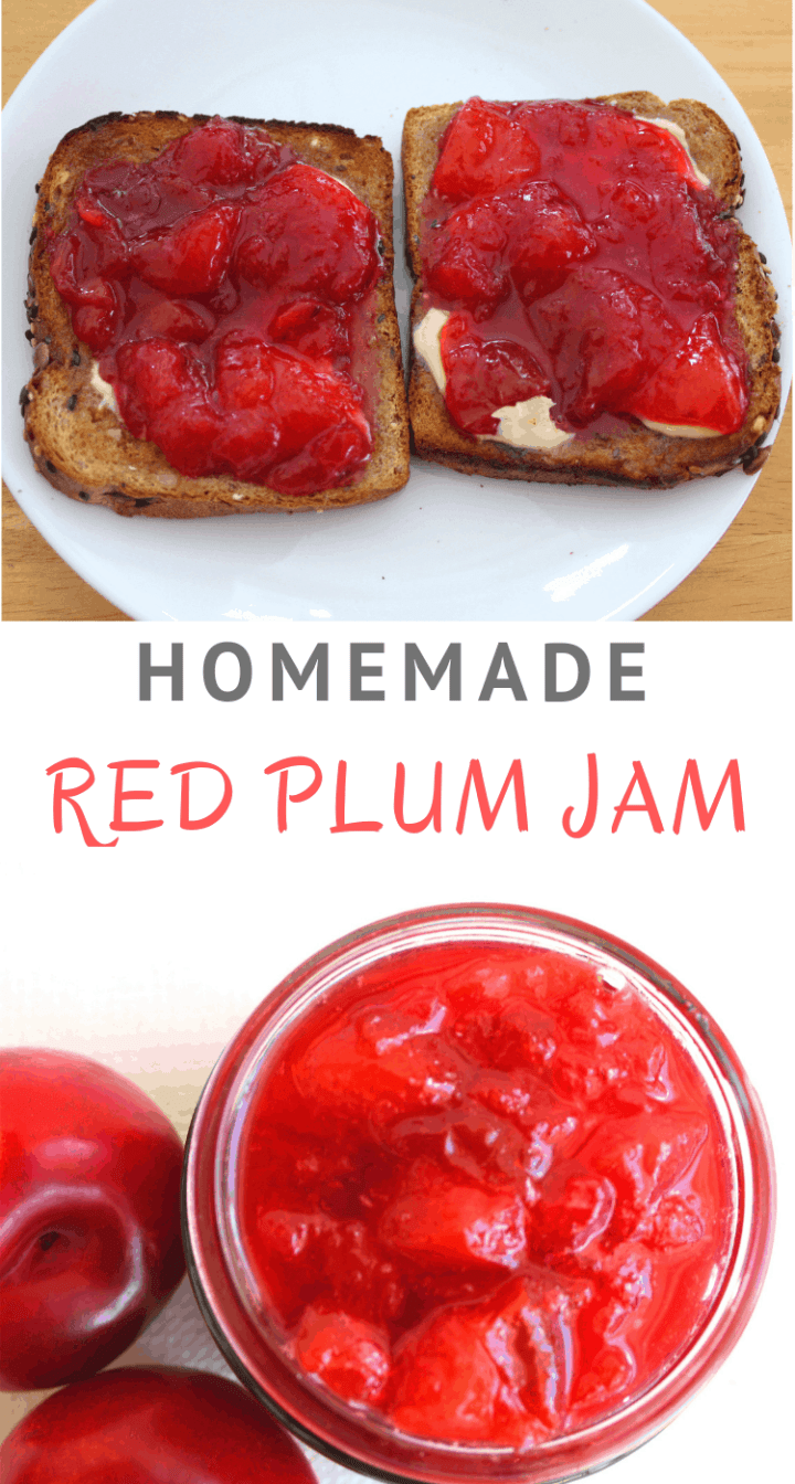 Homemade Red Plum Jam with no added Pectin. In Albanian, plum jam is called  reçel kumbulle.