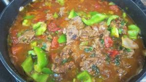 Ground beef cooked with vegetables for the Okra Bake
