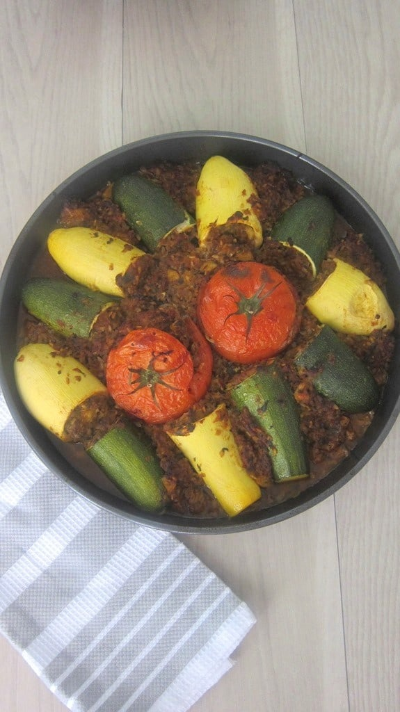 Stuffed Zucchinis, Tomatoes and Squash Casserole - This Mediterranean Dinner Casserole is a favorite family dinner during zucchini season in my household, plus it lasts for 2 dinners which is always a bonus for me.
