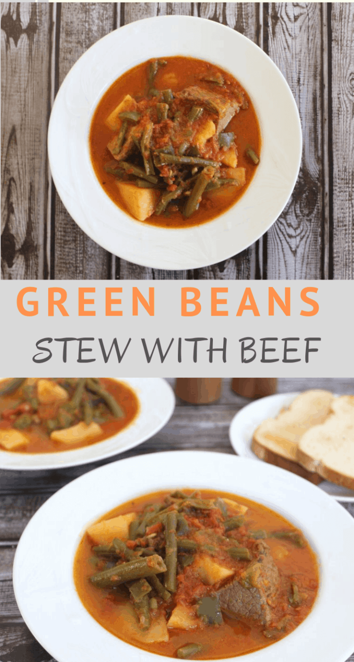 Green Beans stew with beef and potatoes inspired by Albanian Gjelle me Mashurka. This is a typical homemade stew in most Mediterranean countries, variations differ mostly on spices used. You can also use lamb instead of beef for this dish.