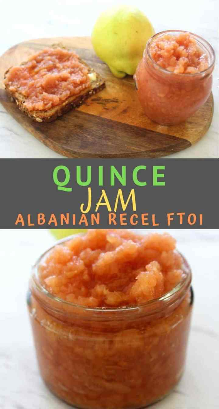 Quince Jam shown over toast and next to a quince fruit