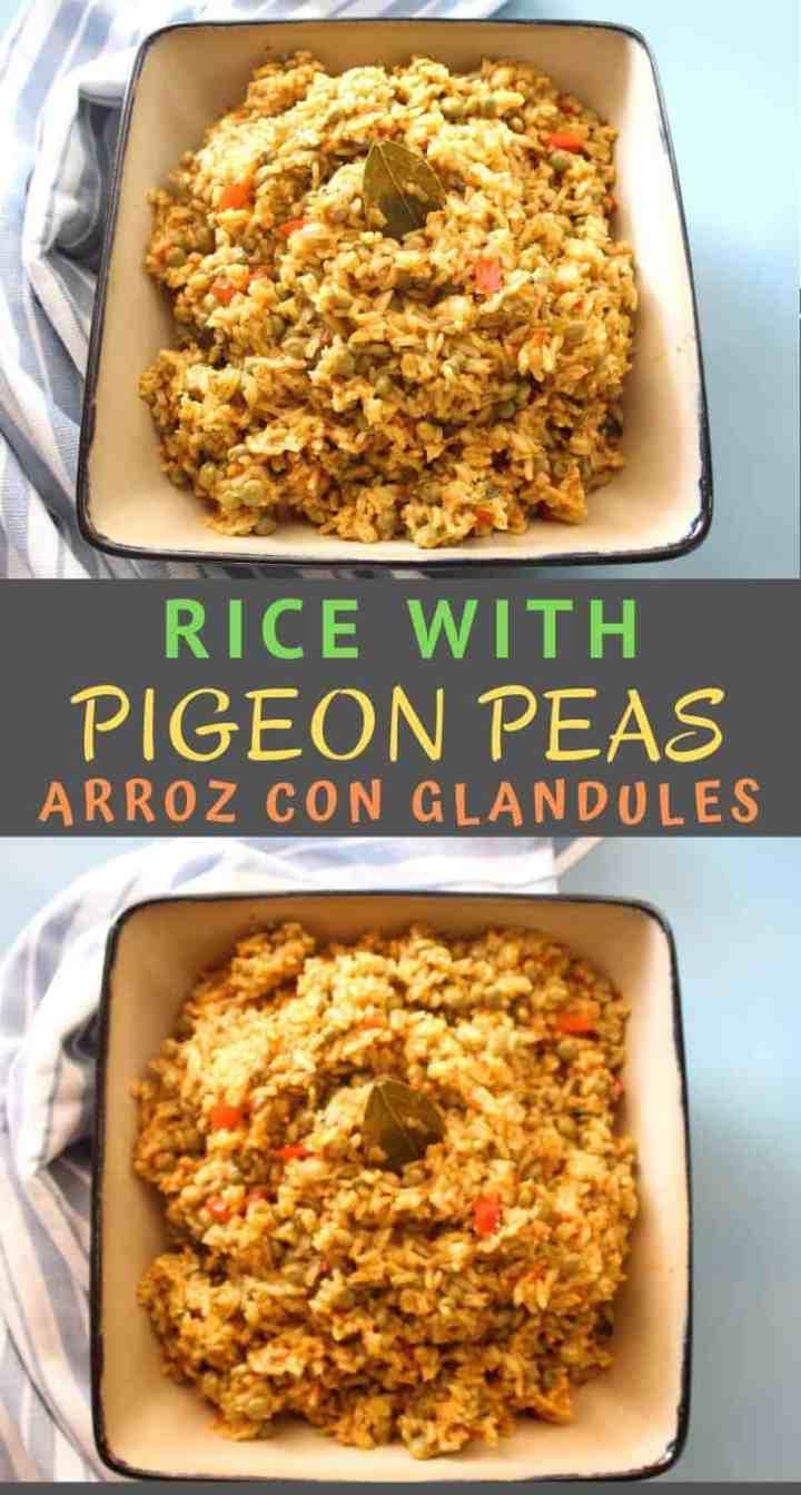 Vegan version of Arroz con Glandules, Rice with Pigeon Peas