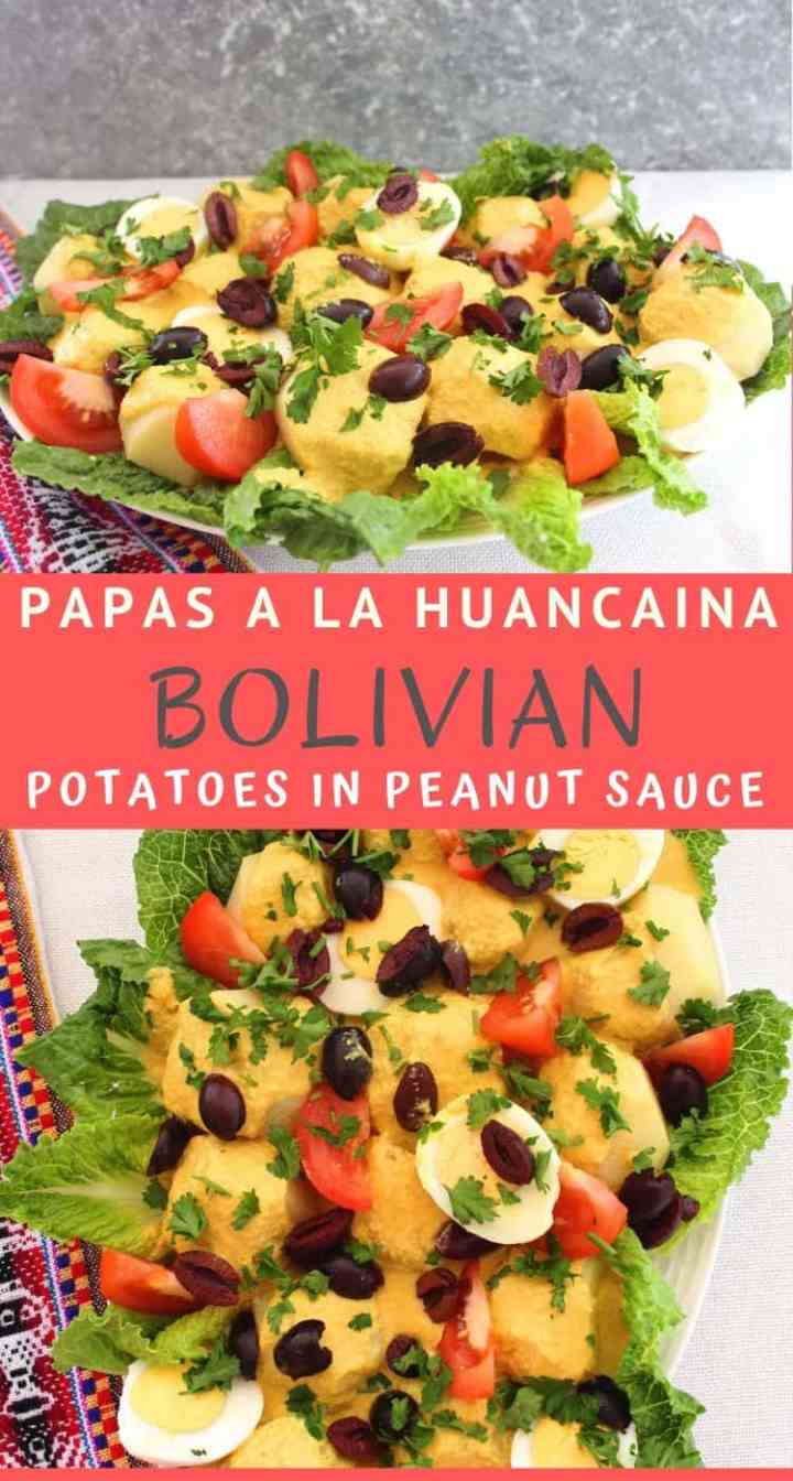 Platter with a Bolivian dish called Papas A La Huancaina, or potatoes in peanut sauce over lettuce. Other ingredients include eggs, olives, lettuce and tomatoes.