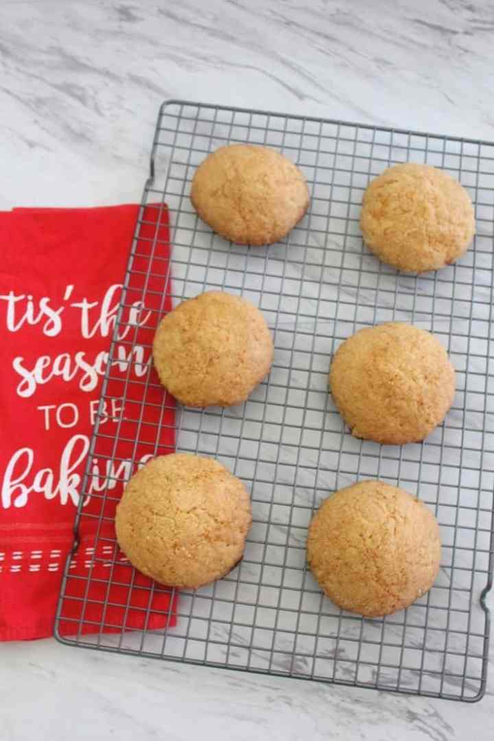 Easy orange, vanilla cookies - picture shows the cookies after they're baked in a cooling rack.