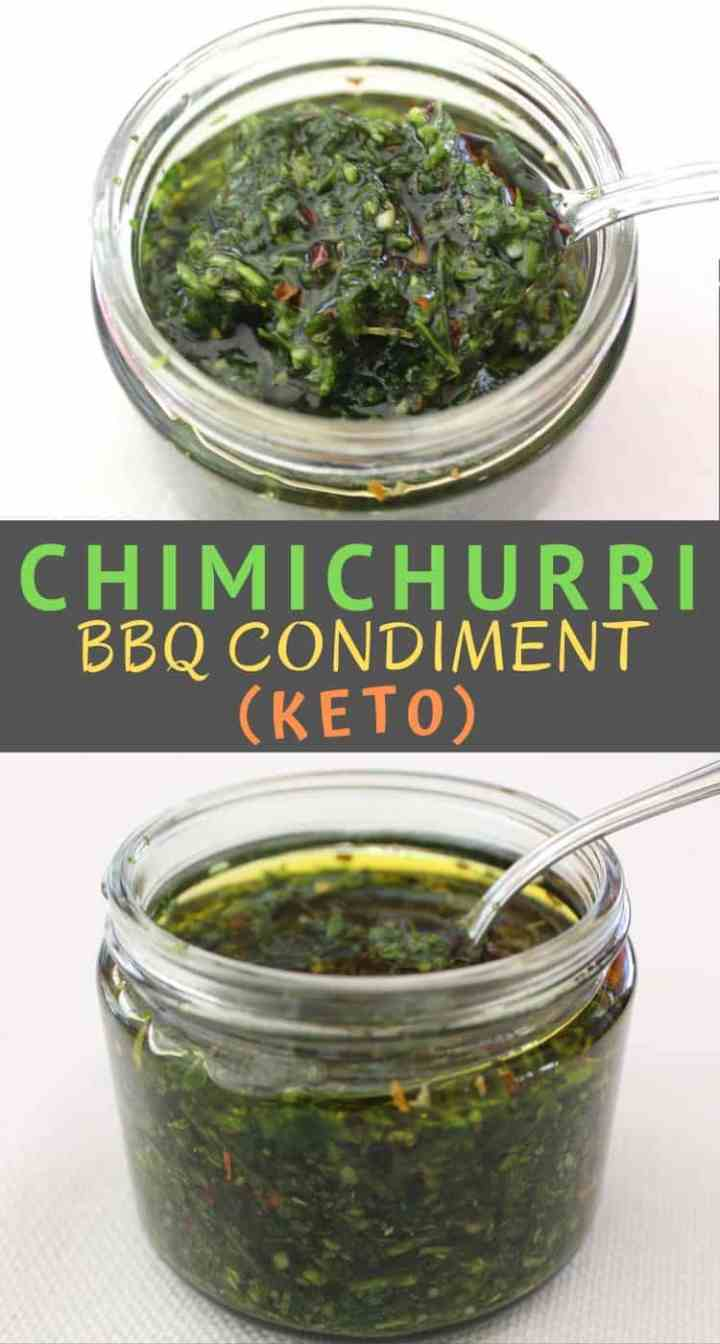 Jars of chimichurri keto sauce, an Argentinian condiment used on BBQs and grilled meats.