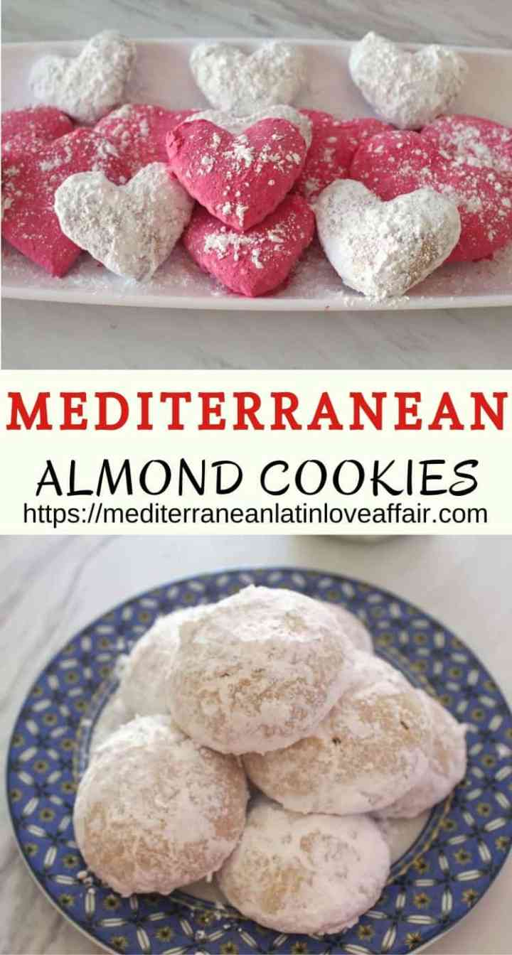 Mediterranean Almond Cookies with Cognac, shown in pink and white colors cut in heart shapes or round ones.