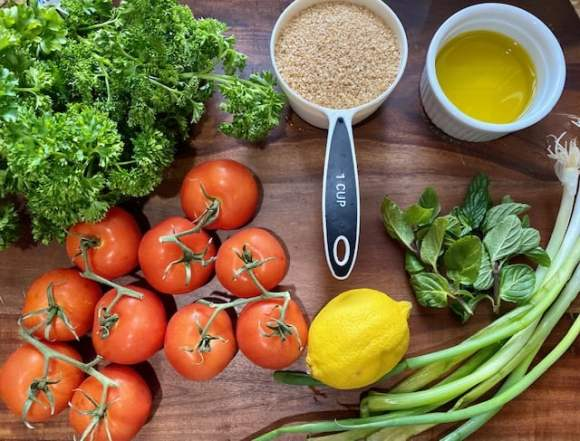 Ingredients for making tabouli (tabbouleh).