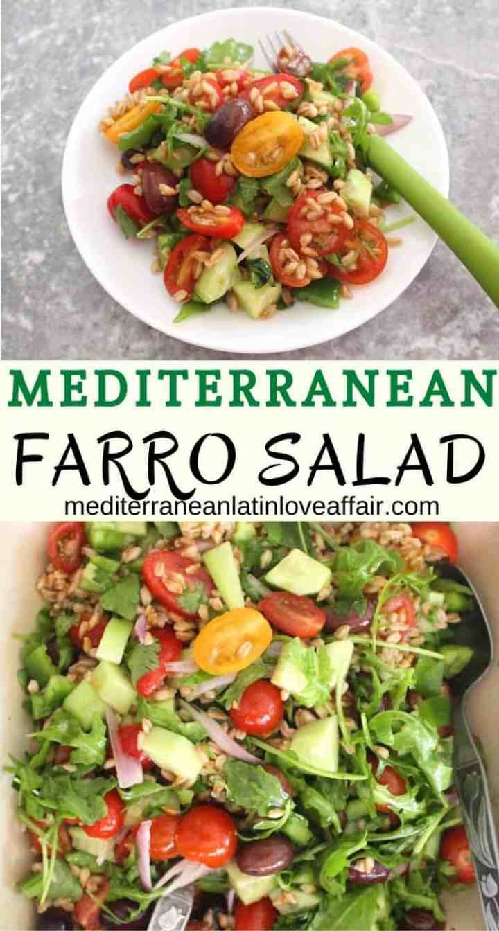 Mediterranean Farro Salad - delicious and healthy serving of this salad shown on a plate.