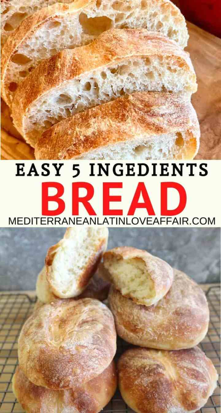 A graphic made specifically for Pinterest, showing 2 pictures of the homemade bread. Top one is sliced and bottom one is just all the breads stacked.