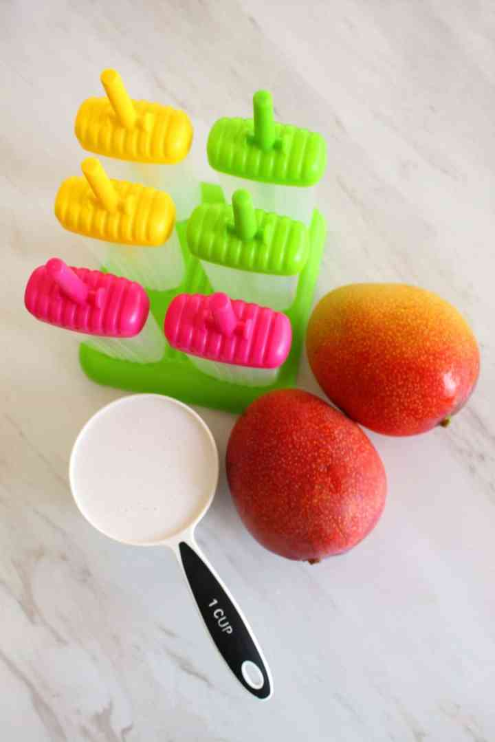 2 big size mangoes, a cup of coconut milks and molds for popsicles are laid out.