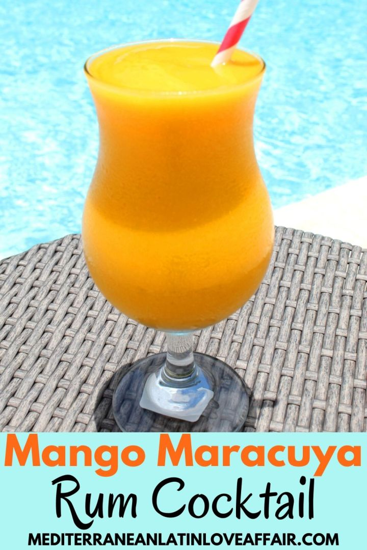 Mango Maracuya (Passion Fruit) Rum Cocktail - shown in a glass next to the pool.