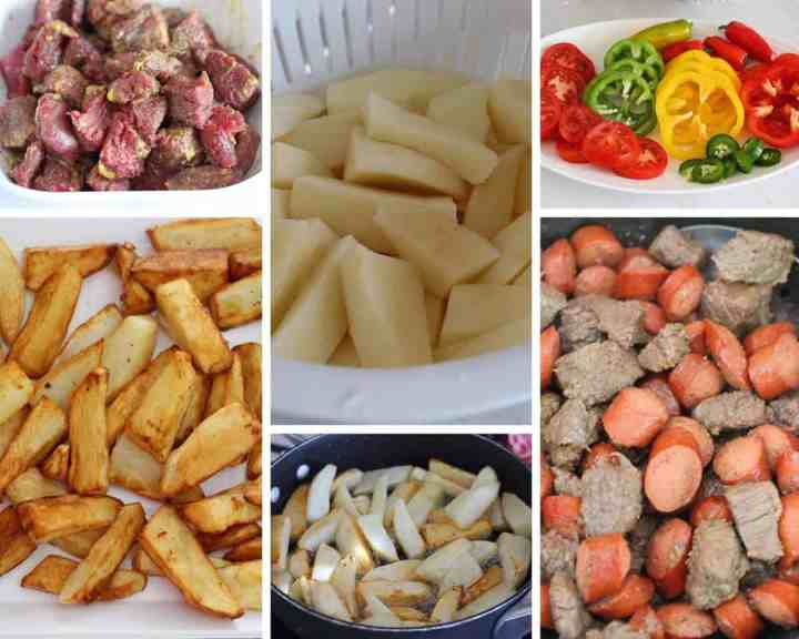 A collage of pictures showing marinated meat, cut potatoes, slices vegetables, french fries, a skillet with fries in it and last a skillet with meat and sausages already cooked.