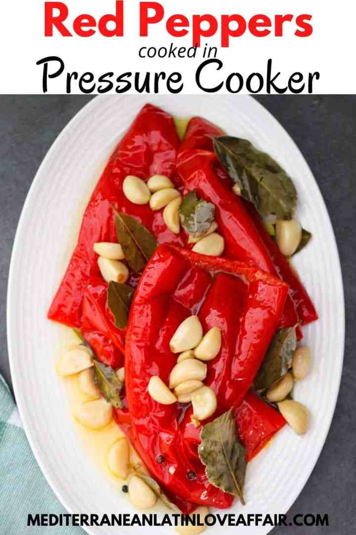 Red peppers served in platter, shown with garlic, bay leaves, pepper corn etc. Picture is prepared for Pinterest with a title bar over the image and the website link in the bottom.