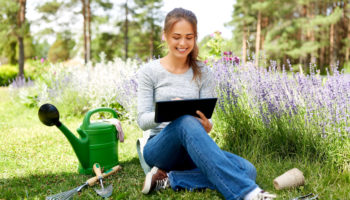 gardening, technology and people concept - happy young woman or gardener with tablet computer and garden tools in summer