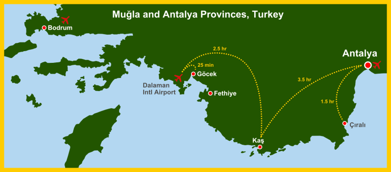 Map Antalya Mugla Province w routes