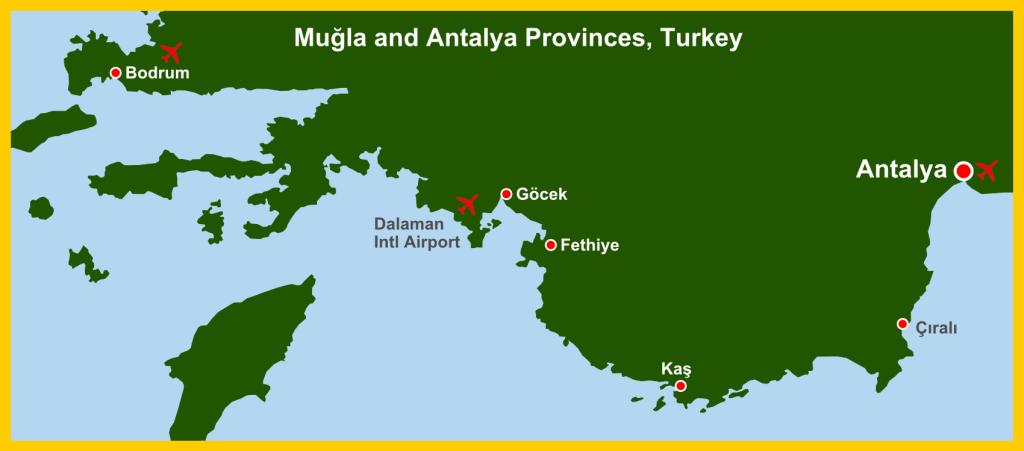 Map Antalya Mugla Province