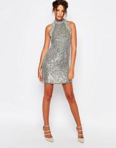 Sequined Turtleneck Dress