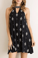 Black and White Printed Swing Dress