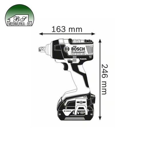 Aku udarni stezač GDS 18 V-EC 250 BOSCH