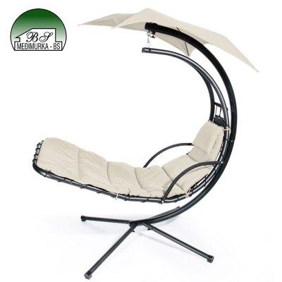 Viseća fotelja njihaljka krem boje