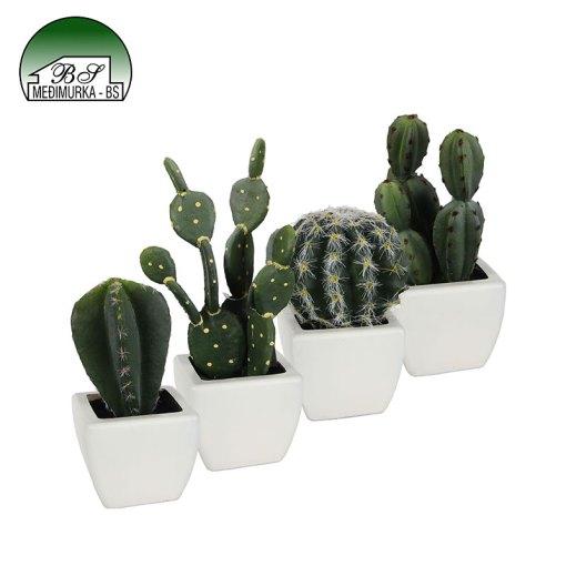 Umjetna biljka kaktus u četvrtastoj posudi - više vrsta