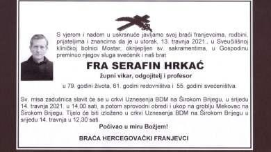 Photo of Preminuo fra Serafin Hrkać, član Hercegovačke franjevačke provincije