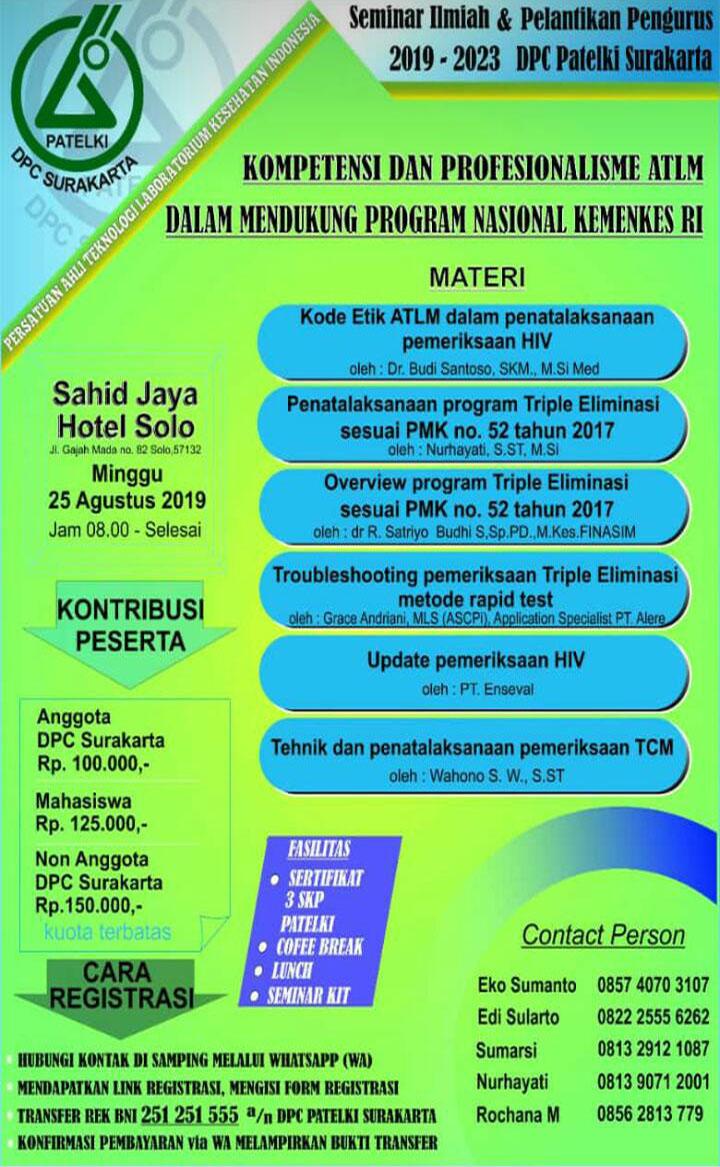 Seminar Kompetensi dan Profesionalisme ATLM Dalam Mendukung Program Nasional Kemenkes RI (Patelki DPC Surakarta)