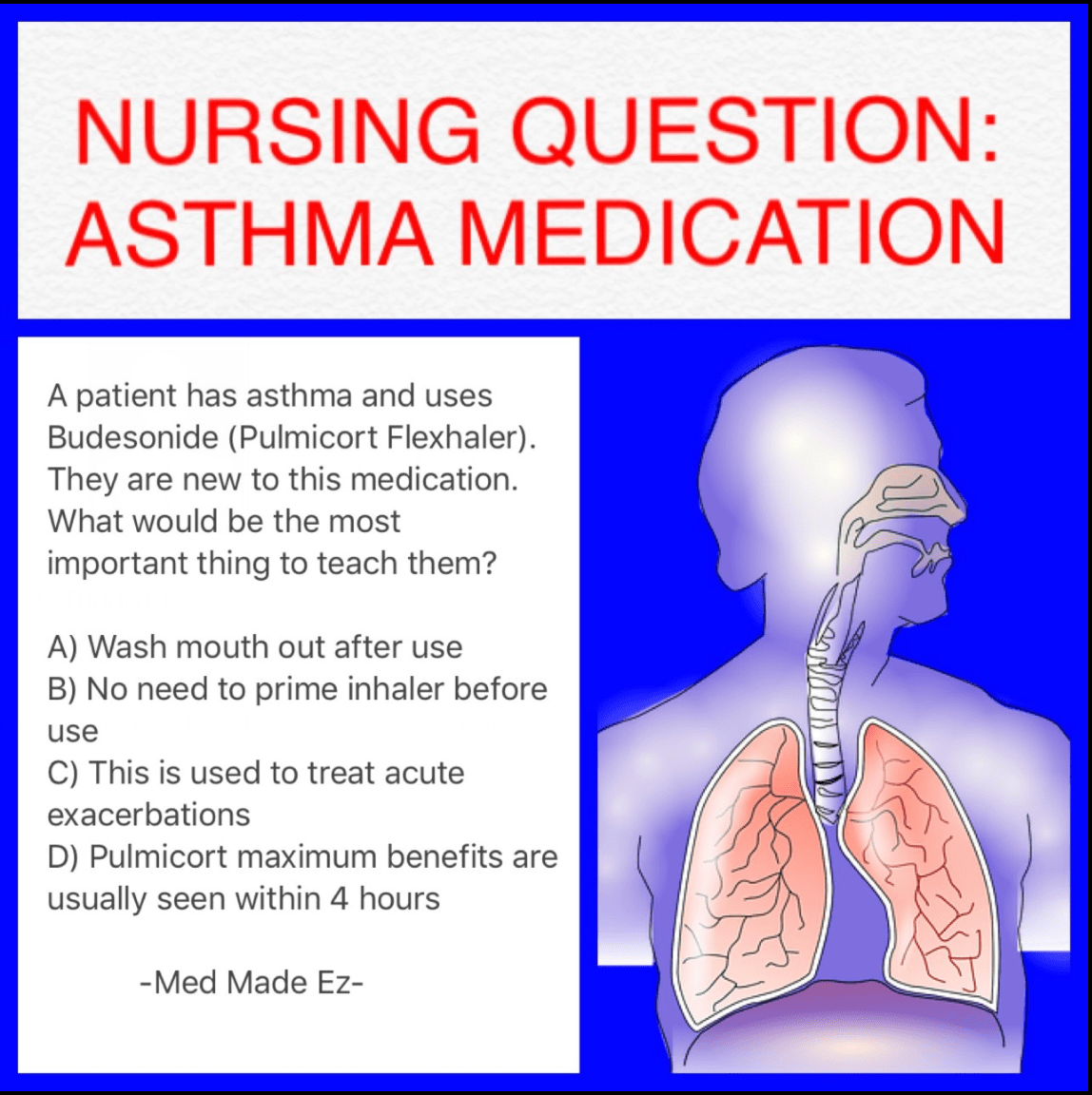 Nursing Question: Asthma Medication - Med Made Ez (MME)