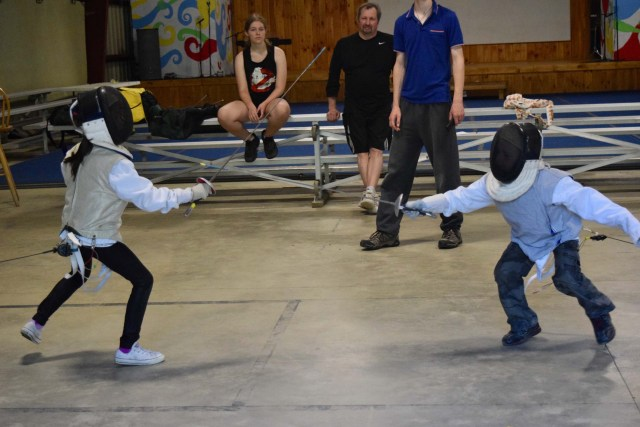 campers learning the art of fencing