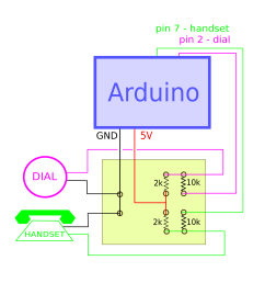 the idea behind this circuit is to connect the input wires let s say of the handset to the 5 volts pin if the two wires are not touching the current flows  [ 1665 x 1838 Pixel ]