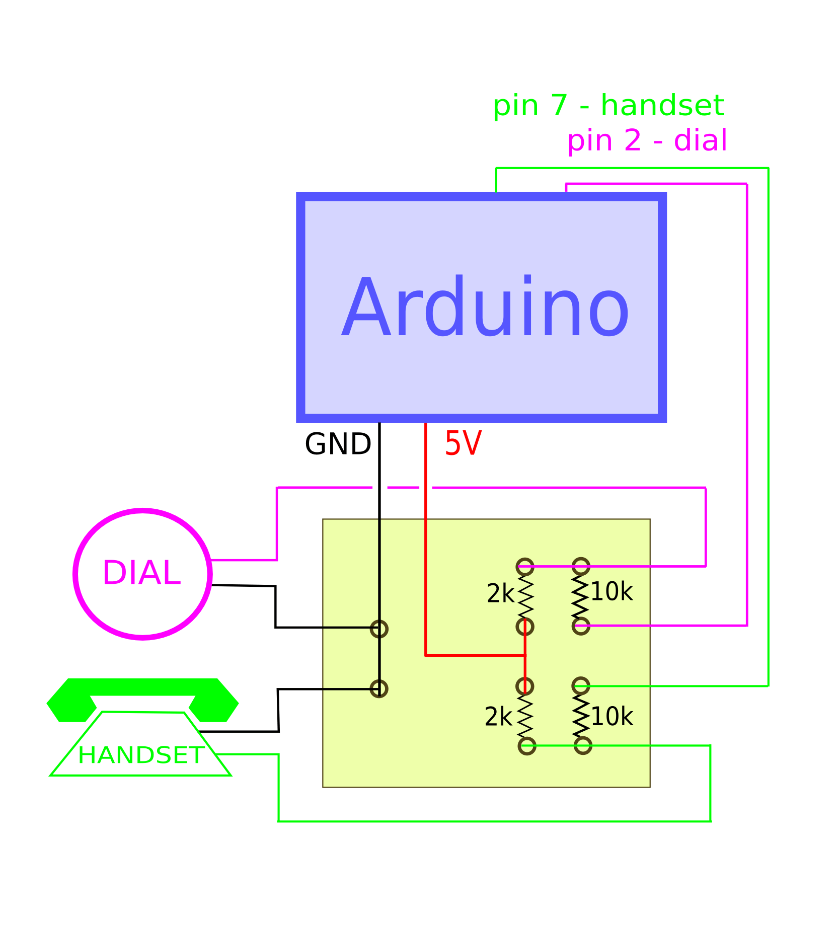 hight resolution of the idea behind this circuit is to connect the input wires let s say of the handset to the 5 volts pin if the two wires are not touching the current flows