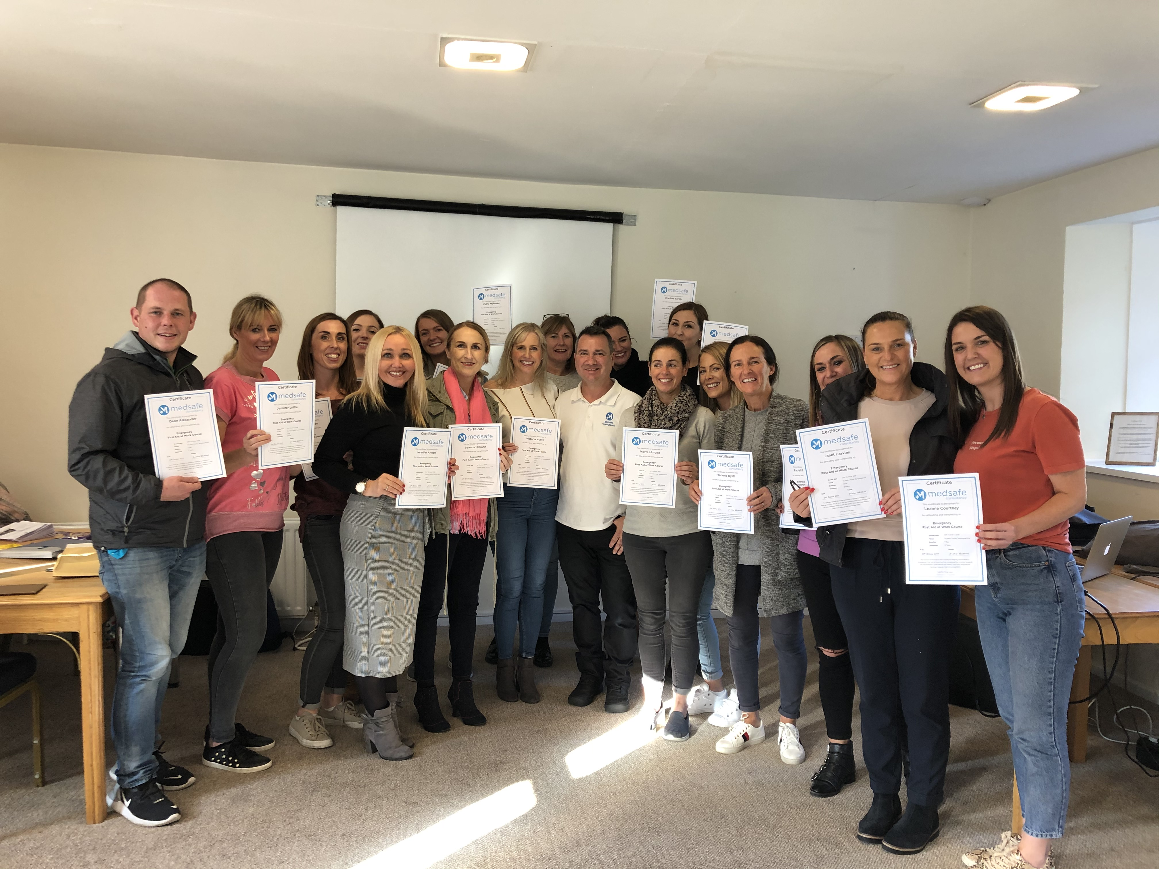Successful completion of an emergency first aid at work course