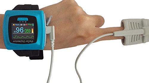 1-Wrist-SpO2-Pulse-Oximeter-Oxygen-Monitor-with-Colored-OLED-Graphic-Display-SnugFit-probe-Built-in-Alarms-for-SpO2-and-Pulse-Rate-Built-in-Memory-for-up-to-24hrs-of-Data-Storage-256k-color-OLED-displ-0