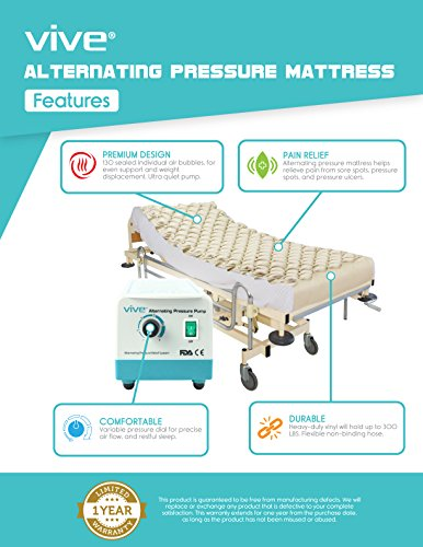 Alternating-Pressure-Mattress-by-Vive-Includes-Electric-Pump-Mattress-Pad-Best-Inflatable-Bed-Pad-for-Pressure-Ulcer-and-Pressure-Sore-Treatment-Fits-Standard-Hospital-Beds-1-Year-Warranty-0-0