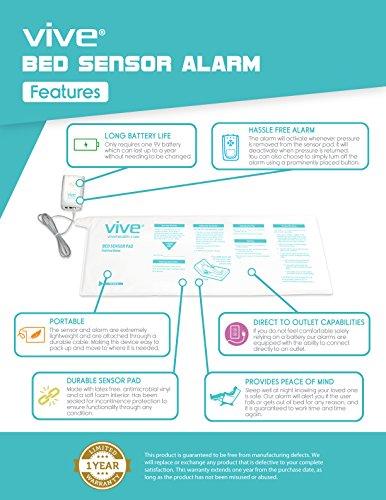 Bed-Alarm-Sensor-Pad-by-Vive-Includes-Alarm-Pressure-Sensor-Pad-Best-Long-Term-Monitor-For-Elderly-Seniors-or-Bedridden-Medical-Fall-Alert-System-1-Year-Warranty-0-0