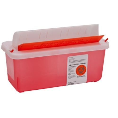 Covidien-85031-SharpSafety-In-Room-Sharps-Container-Mailbox-2-quart-Capacity-Transparent-Red-Pack-of-20-0