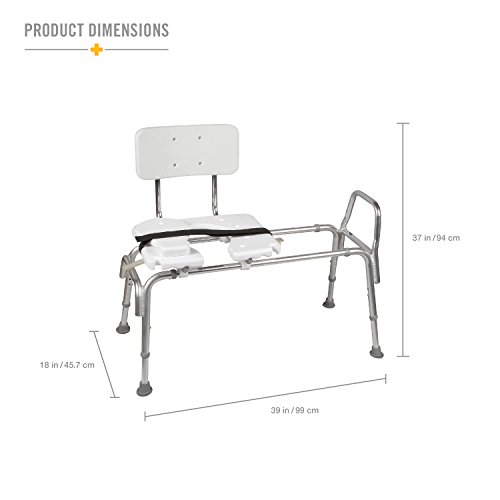 Duro-Med-Heavy-Duty-Sliding-Transfer-Bench-Shower-Chair-with-Cut-out-Seat-and-Adjustable-Legs-Gray-0-1