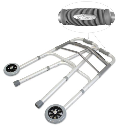 Ez2care-Deluxe-Two-Button-Folding-Walker-with-5-Inch-Wheels-Anodized-Silver-0-1