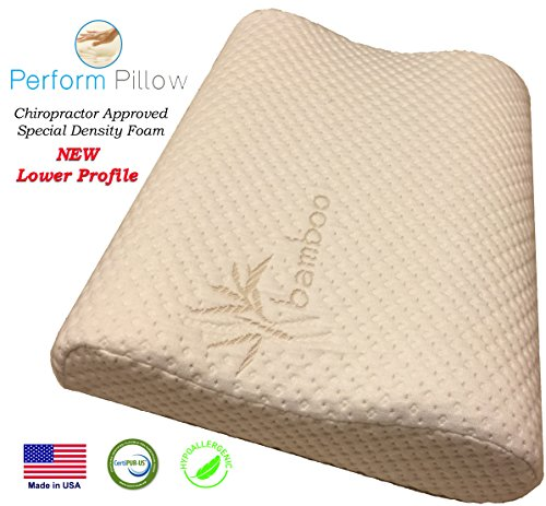 Low-Profile-Memory-Foam-Neck-Pillow-Double-Contour-Chiropractor-Approved-Washable-Soft-Bamboo-Cover-Great-for-Neck-Pain-Sleeping-Children-0