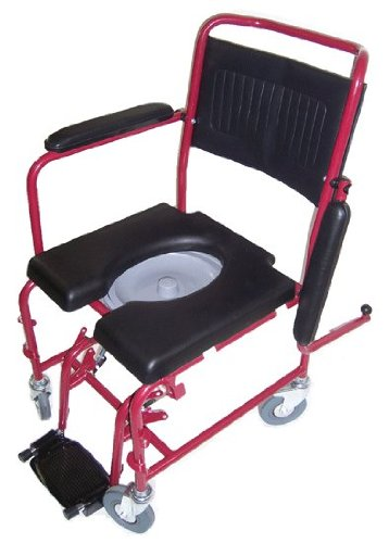 MedMobile-2-in-1-Commode-Shower-Wheelchair-with-Drop-down-Armrests-Locking-Rear-Castors-Detachable-Footrests-and-PU-Commode-Seat-0-0