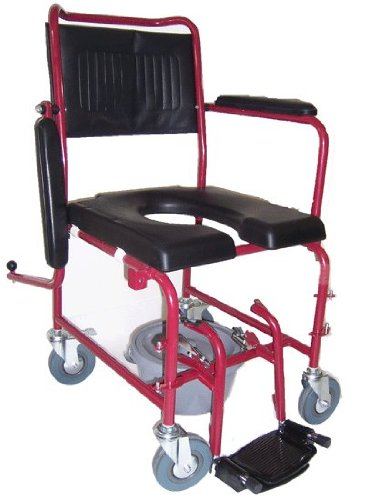 MedMobile-2-in-1-Commode-Shower-Wheelchair-with-Drop-down-Armrests-Locking-Rear-Castors-Detachable-Footrests-and-PU-Commode-Seat-0-1