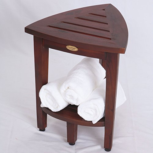New-Oasis-FULLY-ASSEMBLED-Teak-Corner-Shower-Bench-With-Shelf-Shower-Sitting-Storage-Saving-Foot-Rest-0-0