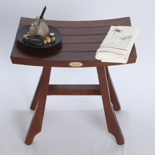 Patent-Pending-Satori-Solid-Teak-Shower-Bench-Asia-Style-13-X-18-With-Adjustable-Foot-Pad-Levelers-0-0
