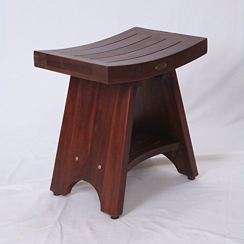 Patent-PendingFULLY-ASSEMBLED-Serenity-Asia-Style-Teak-Serenity-Shower-Bench-Stool-with-Storage-Shelf-for-Shampoo-Toiletries-Bathroom-spa-bath-0-0