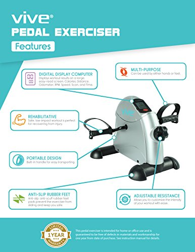 Pedal-Exerciser-by-Vive-Best-Portable-Medical-Exercise-Peddler-Low-Impact-Small-Exercise-Bike-for-Under-Your-Office-Desk-Designed-for-Either-Hands-or-Feet-1-Year-Guarantee-0-0
