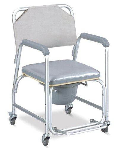 Shower-chair-with-wheels-padded-seat-commode-pail-and-cover-Tool-free-with-removable-back-rest-Dual-plastic-caster-locking-wheels-Overall-width-21-padded-seat-17-wide-height-fixed-38-depth-16-18-14-be-0